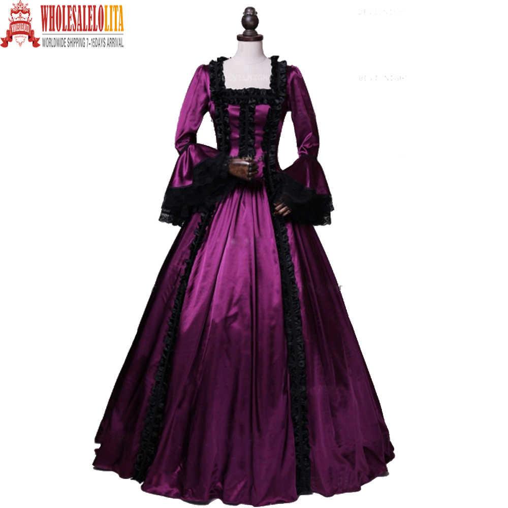 Marie Antoinette gótico Moça Renascimento Gótico Vitoriano vestido de Baile Vestido de Princesa vestido de Baile vestido de Vampiro Teatro Traje de Halloween