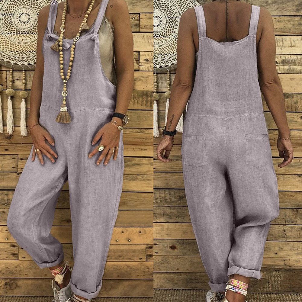 Womens Linen Long Playsuit soft and comfortable Dungarees Harem Pants Ladies Overall Jumpsuit L50/0116