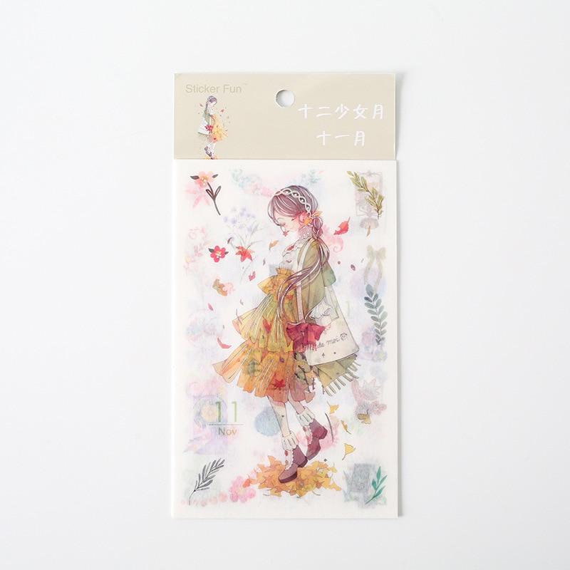 Kawaii Милая наклейка для девочки в стиле декабрина и ветра, декоративная наклейка для ноутбука, декоративная наклейка для рисования, канцелярские товары - Цвет: 11