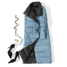 Autumn Winter Women Double Side Wear Down Jacket 90% White Duck Down Coats Parkas Female Casual Fashion Long Down Coats Outwears