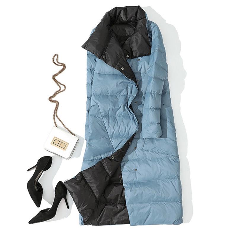 Winter Women Double Side Wear   Down   Jacket 90% White Duck   Down     Coats   Parkas Female Casual Fashion Long   Down     Coats   Outwears YP2123