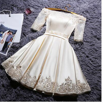 2017 New fashion short Party dress Half sleeves Plus size Champagne color Robe De Soiree Prom dresses