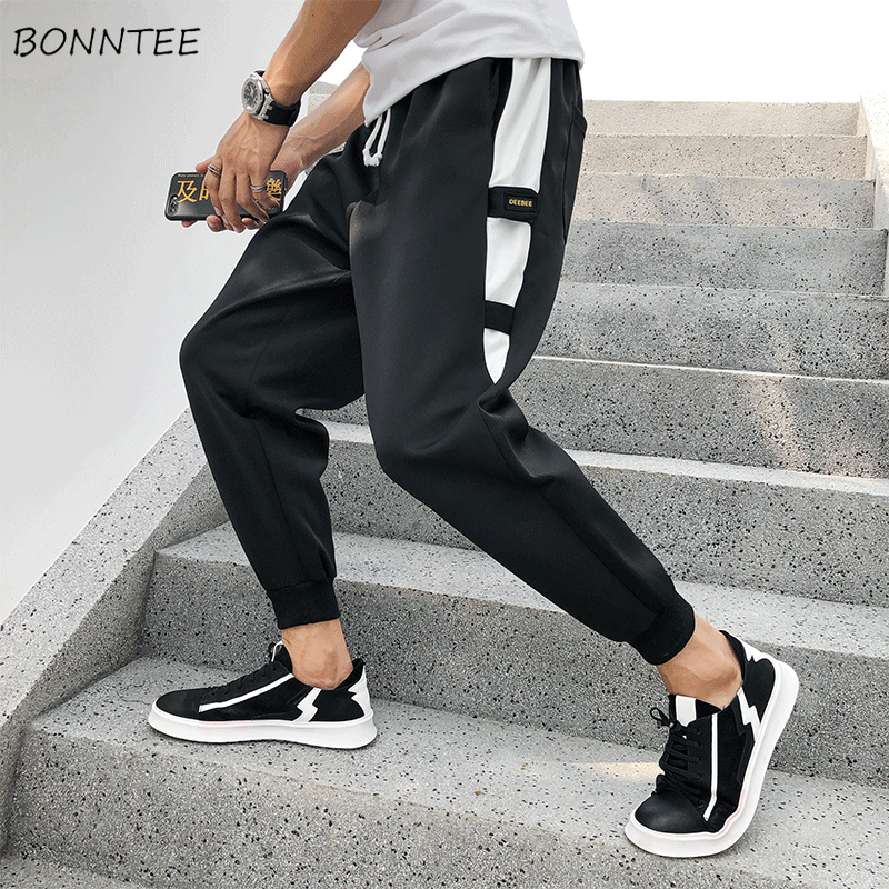 Pants Men Males-Trousers Ankle-Length Korean-Style High-Quality Ulzzang Drawstring Comfortable