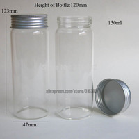 Free Shipping 6 150ml Big High Boro Silicate Glass Jar 150ML Larger Glass Bottle With Aluminum