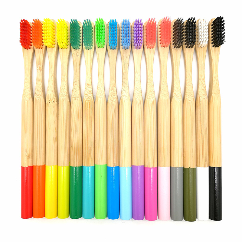 Rainbow Tooth Brush Multi-color Natural Bamboo Toothbrush With Round Bamboo Handle Soft Bristle Eco-friendly Adult Toothbrush