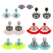 Sehuoran 2019 New Trendy Set Eye Earrings For Women Crystal Boho Drop Earrings Fringed Dangle Earrings Wedding For Personality
