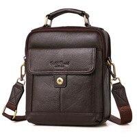 NEW Fashion Men Cowhide Crossbody Tote Hand Head High Quality Genuine Leather Bags Brand Business Messenger Bag Handbags