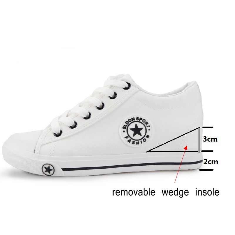 ฤดูร้อน WEDGE รองเท้าผ้าใบผู้หญิงรองเท้าผ้าใบแบบสบายๆหญิงสีขาวตะกร้า Femme Star Zapatos Mujer Trainers 5 ซม.ความสูงสุภาพสตรีรองเท้า