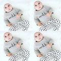 0-3Y Малышей Детей Мальчиков Одежда Для Девочек Новорожденных Bebes С длинным Рукавом Рубашка + Брюки 2 шт. Наряд Детская Одежда набор