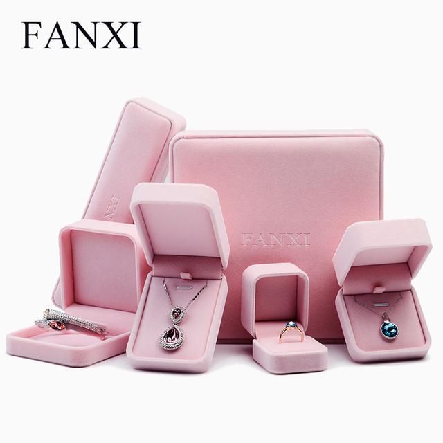 FANXI Romantic Jewelry Gift Box Pink Velvet Jewelry Collection