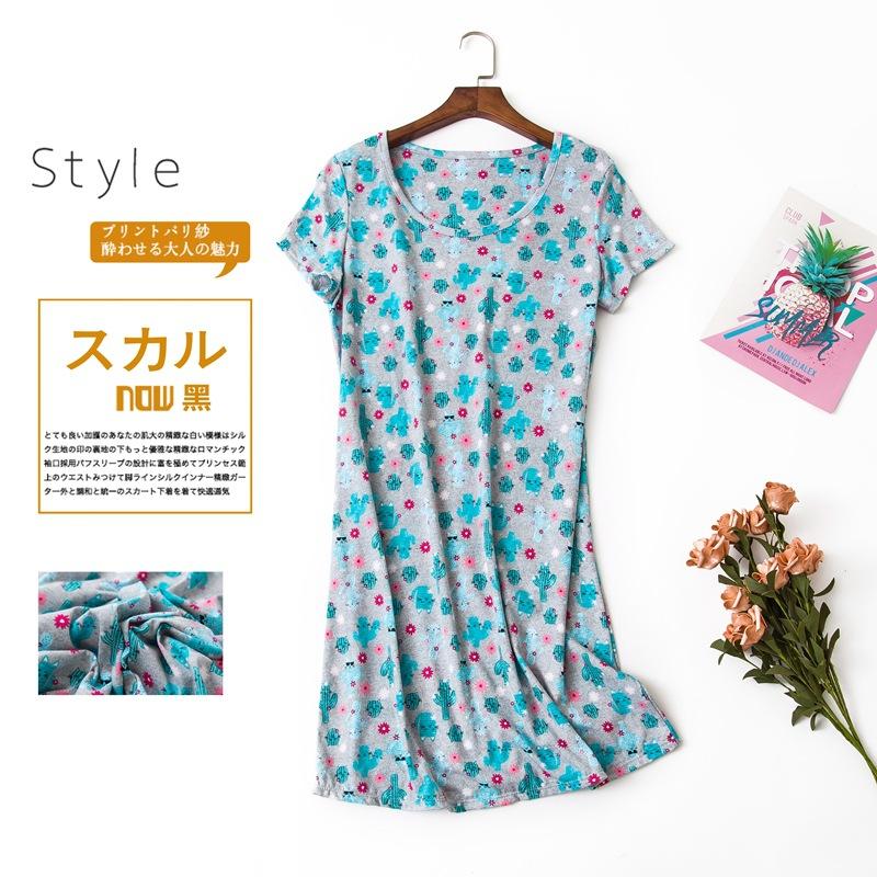 Cute cartoon sexy women nightdress summer short sleeve 100% cotton sleepwear pyjamas women nightgowns Plus size 90kg  2