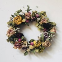 Original DIY natural rose white fruit embroidered ball wreath wall decoration art dry flowers Free Shipping