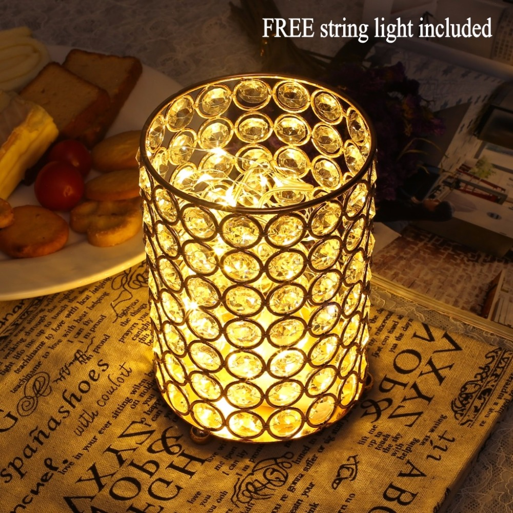 Decorative glass vase with free string light for wedding