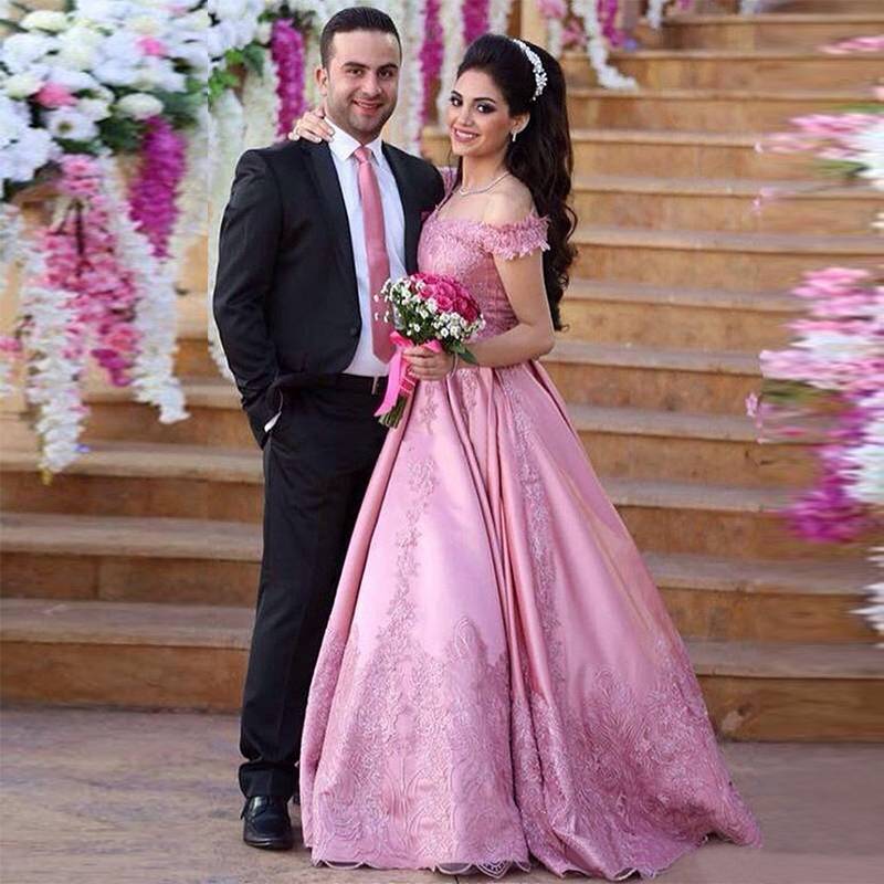Romantic Pink Arabic Lace Engagement Gowns Evening Dress 2017 New ...