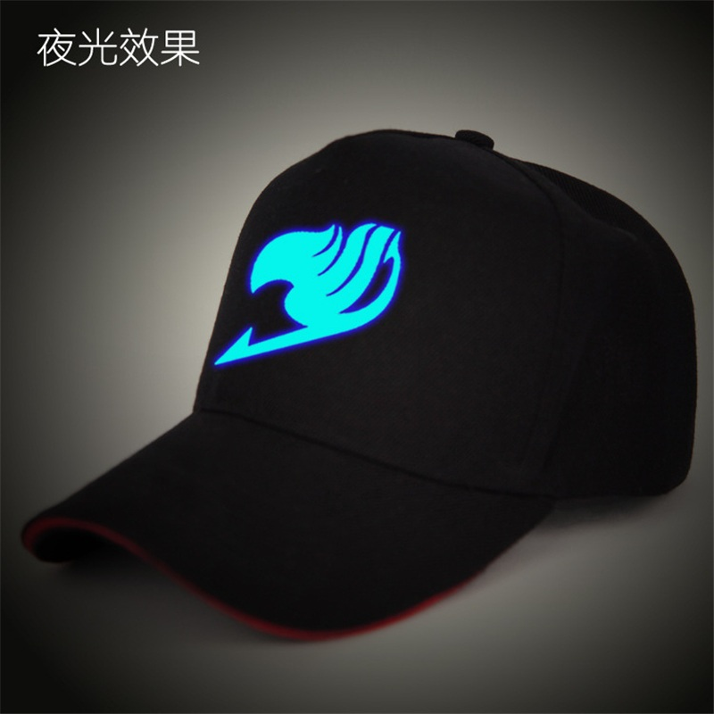 Anime Fairy Tail Baseball Cap Sun Hat Adult Black Snapback Cap Novelty Summer Trucker Hat Glowing in Dark Hip-hop Hats Motocycle anime pocket monster flareon cosplay cap orange cartoon pikachu ladies dress pokemon go hat charm costume props baseball cap