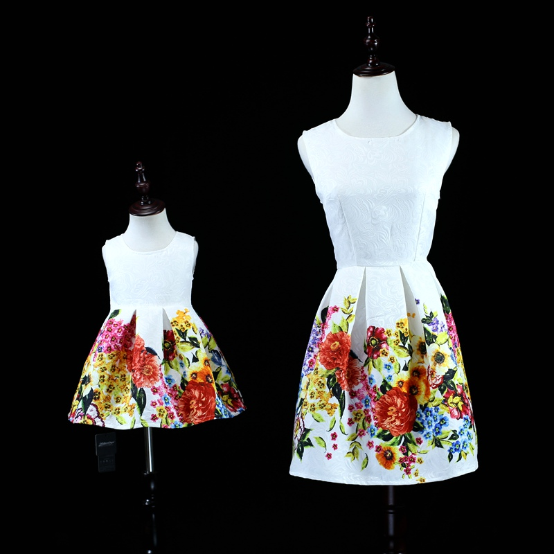 Brand formal floral Sleeveless dress family look clothes mom and baby girls matching dresses mother and daughter evening dress все цены