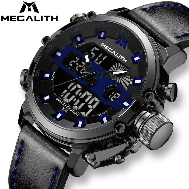 MEGALITH Fashion Men Sports Quartz Watches Dual Display Analog Digital LED Electronic Wristwatches Waterproof Military Watch Men