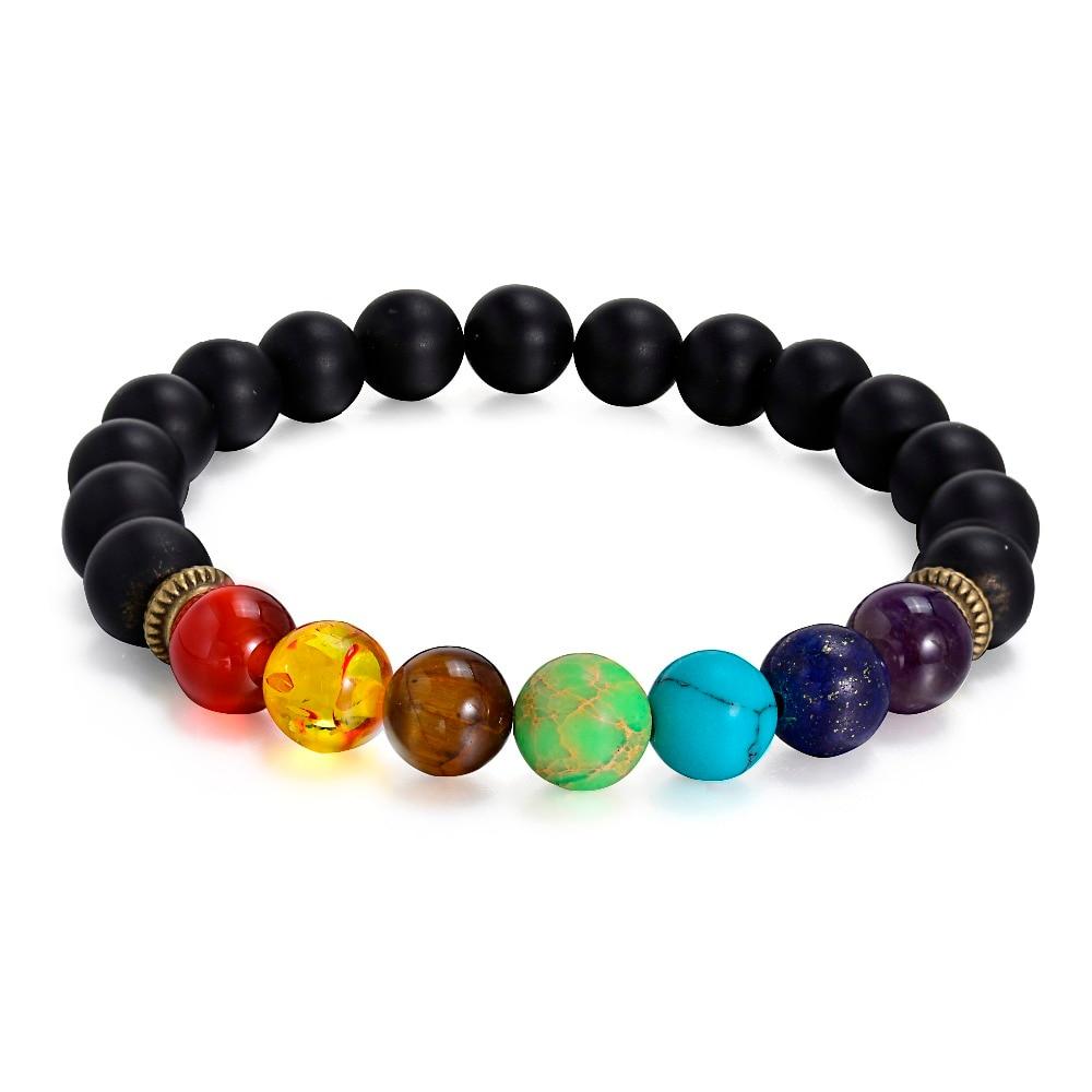Nové 7 čakry náramky muži ženy černé láva hojení rovnováhu 8mm korálky přírodní kámen jóga pár náramky pro kutily láva šperky