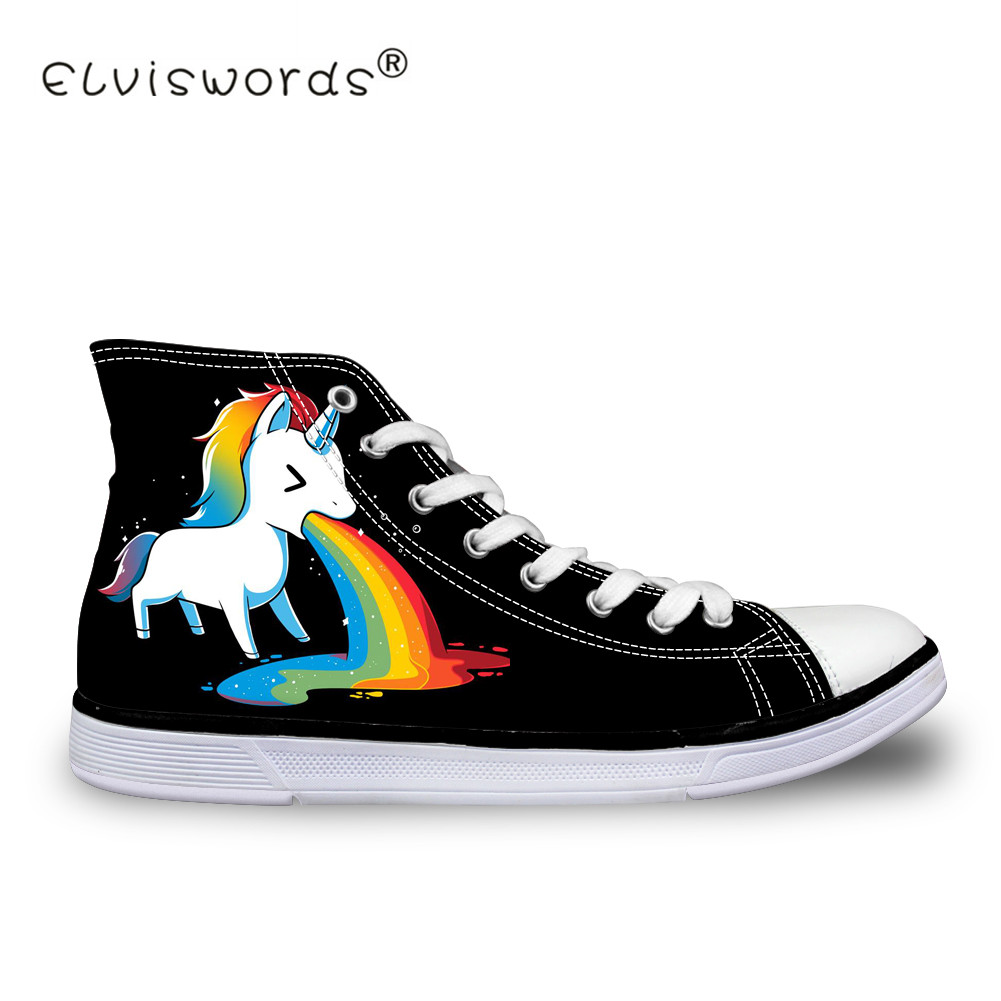 ELVISWORDS 3D Unicorn Print Women Vulcanize Shoes High Top Canvas Shoes for Ladies Flats Female Casual Shoes Chaussures Femme casual print round neck ruffled top for women