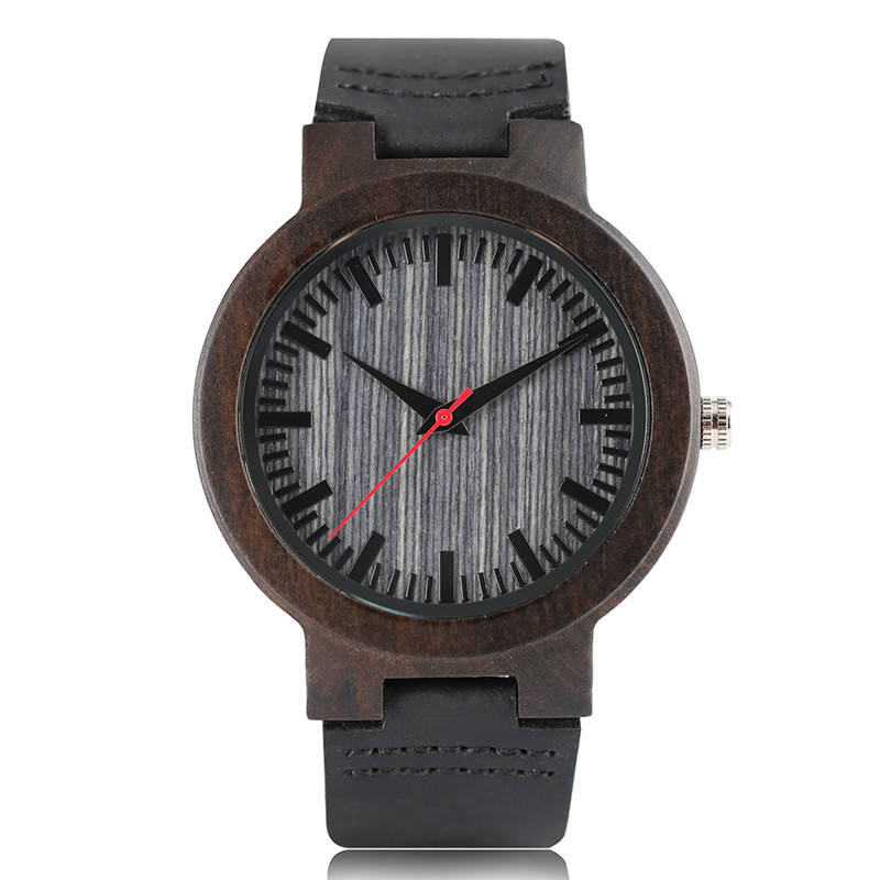Men Watches 2017 Luxury Ebony Nature Wooden Watch Fashion Bamboo Wood Gifts Wristwatch Genuine Leather Strap Relogio Masculino gorben round vintage zebra wood case men watch with ebony bamboo wood face bamboo wood strap bracelet watches cool modern gifts