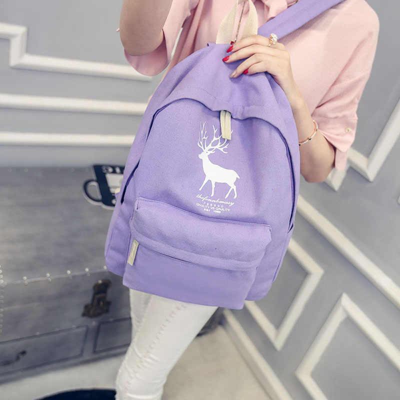 e5b4447c7dac ... Мода холст рюкзак элегантный дизайн для мальчиков Обувь для девочек  Олень школьная сумка Горячие 2016 Новинка