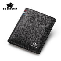 BISON DENIM Mens Wallets Genuine Leather Small Purse Card Holder Mini Male Black Wallets N4459 2B