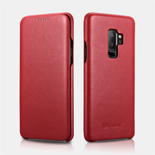 ICARER 3 Colors Luxury Curved Edge Genuine Natural Cowhide Leather Full Protective Flip Phone Case For Samsung Galaxy S9 S9Plus