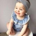 Ins moda 2016 baby girl roupas de verão denim camisa sem mangas criança do sexo feminino trigonométricas uma peça culottes twinset vestidos
