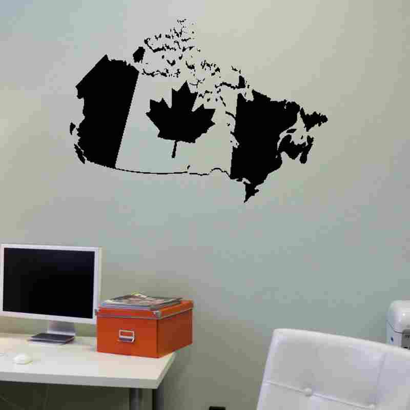 Canada Map Sticker Decal Posters Vinyl Wall Decals Pegatina Quadro Parede Decor Mural 084 In Stickers From Home Garden On