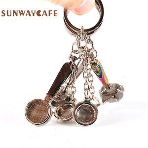 Image 2 - Coffeeware אספרסו אביזרי מתנה קפה מכונת ידית מוקה קנקן Keyring נייד Creative ריסטה קפה לחבל Keychain