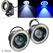 цена на 2pcs 3 Inch Car Fob Lamp Light 76MM 12V 1200LM DRL Car LED Angel Eye Fog Lamp COB Diaphragm Daytime Running Light for Cars