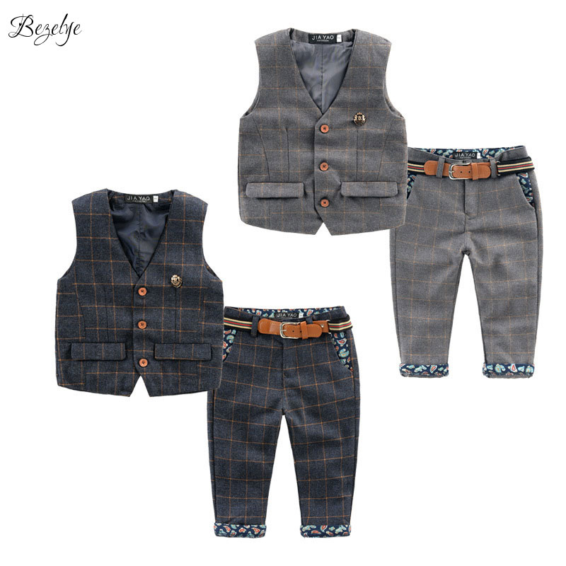 2018 New Children's Plaid Clothing Sets Kids Baby Boy Suit Vest Gentleman Clothes for Weddings Formal Clothing for Children 2018 new children clothing set england kids clothes gentleman boys party wedding suits baby boy formal plaid long sleeved sets