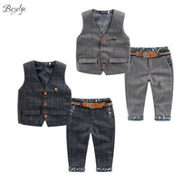 2018 New Children's Plaid Clothing Sets Kids Baby Boy Suit Vest Gentleman Clothes for Weddings Formal Clothing for Children