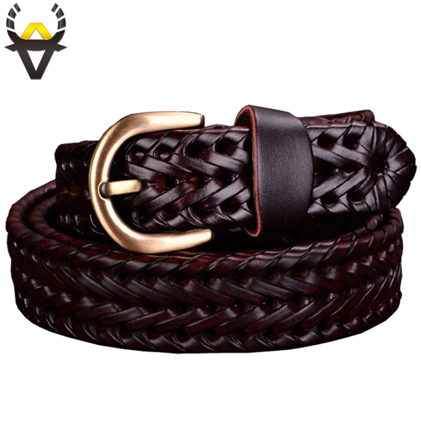 Genuine leather   belt   Woman Braided   belts   for Women jeans High quality Second layer Cowskin thin strap female width 2.5cm Coffee
