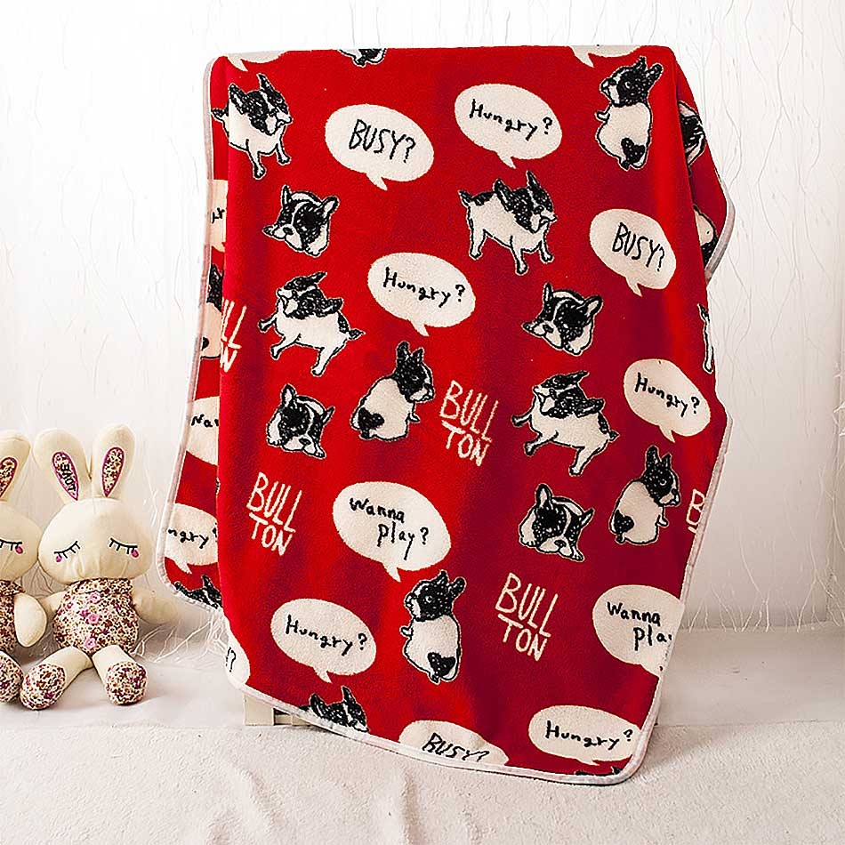 Red French Bulldog Pet Cats Rest Flannel <font><b>Blanket</b></font> Dogs Cushion Warm Sleep Nap Cover Mat Quilt Plush Carpet Coral Fleece Accessory
