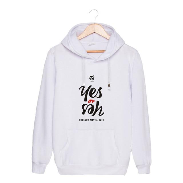ONGSEONG KPOP TWICE The 6th Mini Album Yes or Yes 2018 New Hooded Sweatshirt Long Sleeve