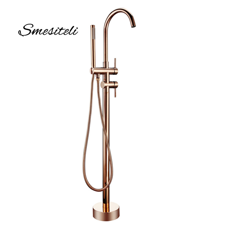 Smesiteli Bathroom Taps Brass Shower Diverter Floor Standing Bathtub Spout Mixer Tap Faucet Rose Gold for