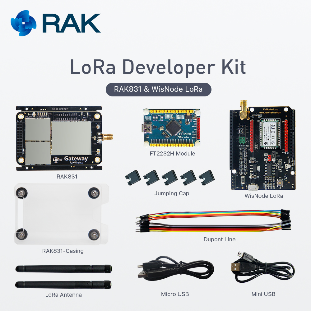 LoRa Developer Kit, RAK831 LoRa/LoRaWan Gateway Module with WisNode LoRa, base on SX1301, 433/868/915MHz rfm01 433 868 915mhz