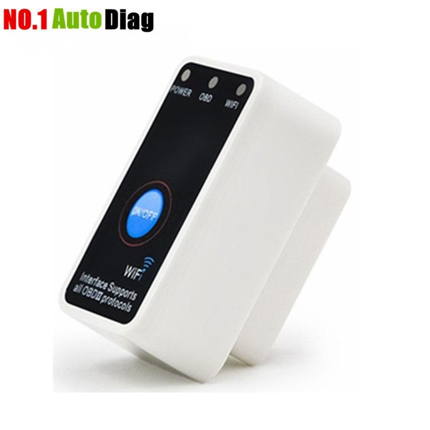 Prix pour Vente chaude Super Mini ELM327 WiFi avec Interrupteur D'alimentation WIFI327 OBD2/EOBD ELM 327 auto Lecteur de Code Outil De Diagnostic outil Livraison gratuite