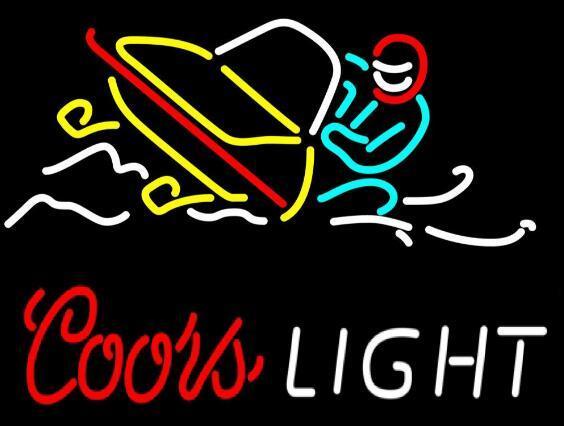 Coors Light Snowmobile Glass Neon Light Sign Beer Bar