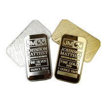 2 pcs The brand new American Johnson Matthey JM bank silver 24k gold plated bullion bar souvenir coin bar
