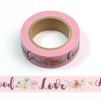 1PC Good Love Smile HelloFloral Cute Paper Masking Washi Tape Set Japanese Stationery Scrapbooking Supplies 16pcs lot cat washi tape set paper decorative kawaii cute masking japanese stationery crafts and scrapbooking school supplies