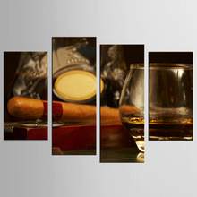 4 Piece Canvas Art Printing Photo Cigar series Painting Custom Canvas Print On Canvas Printing Wall Pictures Home Decoration цены онлайн
