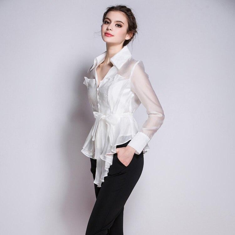 a622d7b512 Mujer Collar Nueva Elegante down Turn De Mujeres Ropa Seda Puro Blanco  Blanca Camisa Manga Larga Oficina Blusas Moda Corea Desgaste 2017 dFxnqI8BI