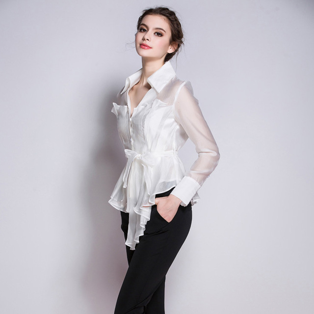 Korean New Fashion Women Clothes 2017 Turn Down Collar Long Sleeve White Shirt Office