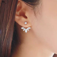 25*25mm Temperament Flowers White Crystal High End Earrings Crystal Stud Earrings Fashion Jewelry Earrings For Women HE-50
