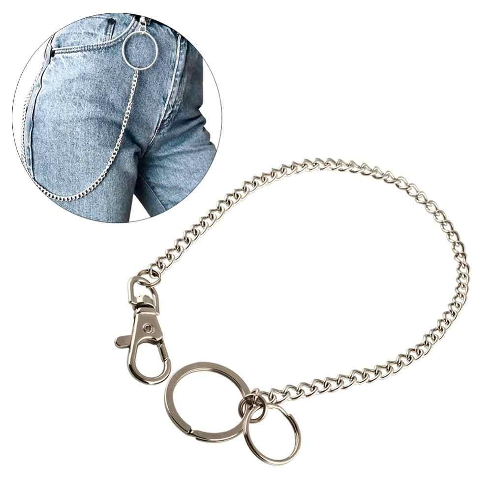 35cm Rock Punk Trousers Pant Jean Keychain Silver Color Long Metal Wallet Belt Chain Ring Men's HipHop Keyring Jewelry