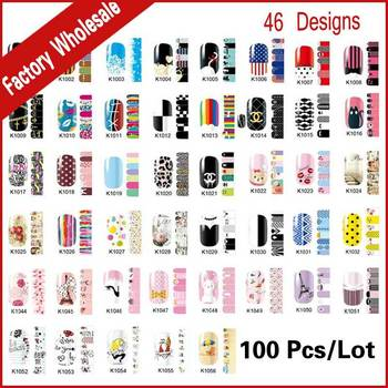 Hot 45Designs Smooth Nail Patch,100sheets/lot Adhesive Full Cover Nail Art Beauty Sticker Foils Wraps Decals DIY Nail Decoration