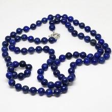 Elegante natural azul egipcio lapislázuli granos redondos jasper collar con cadena larga 8,10, 12 mm fashoin joyería elegante 36 pulgadas B1484