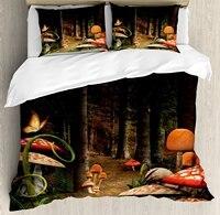 Гриб Декор Набор пододеяльников для пуховых одеял комплект грибы в глубокий темный лес фантазия природы тема земли пути 4 шт. Постельное бел